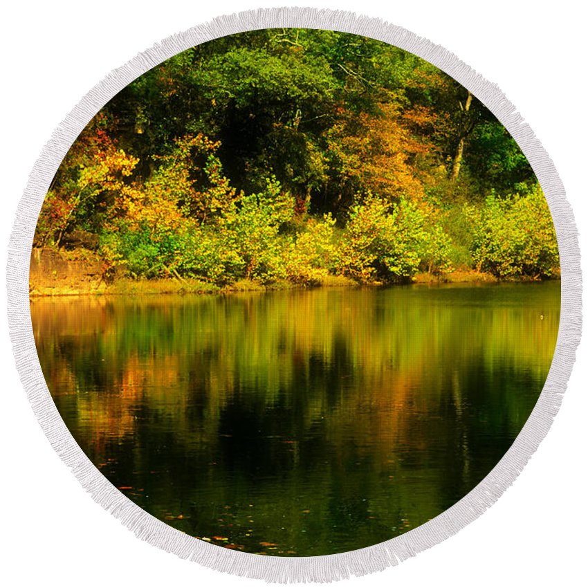 Landscape Round Beach Towel featuring the photograph Reflection Of Autumn Colors by Peggy Franz