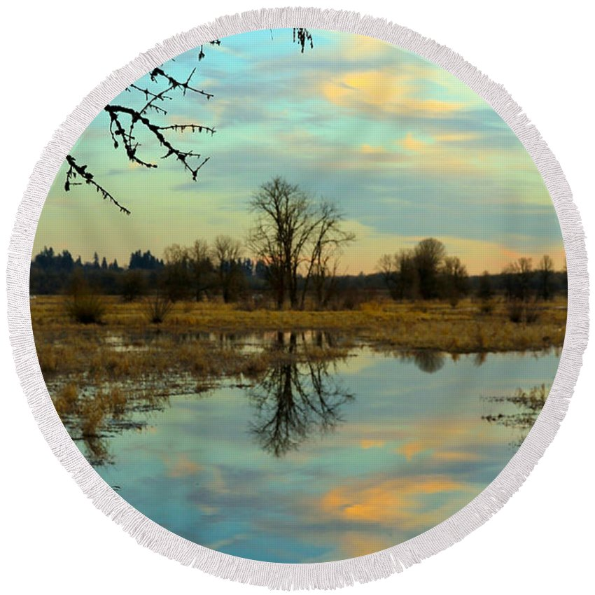 Ridgefield Wildlife Reserse Round Beach Towel featuring the photograph Reflections by Athena Mckinzie