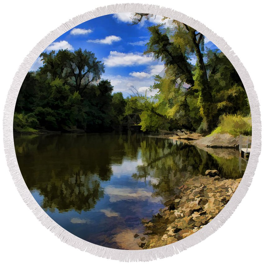 Art Round Beach Towel featuring the photograph Reflections On The Kankakee by Scott Wood