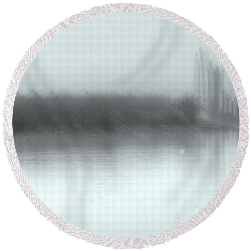 Fog Round Beach Towel featuring the photograph Reflections Through The Fog by Rod Wiens