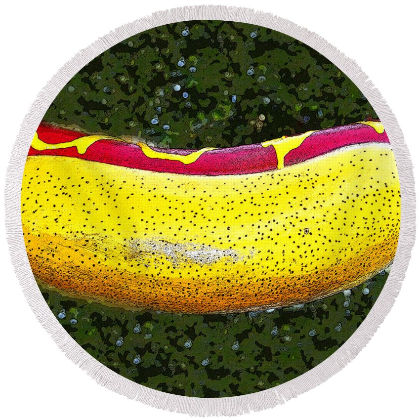 Pop Art Round Beach Towel featuring the painting Relishing A Hotdog by David Lee Thompson