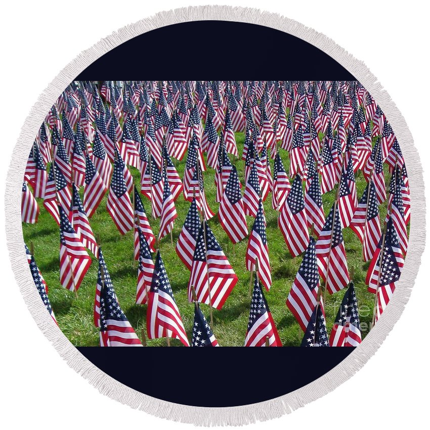 American Flags Round Beach Towel featuring the photograph Remembering by Nancy Patterson