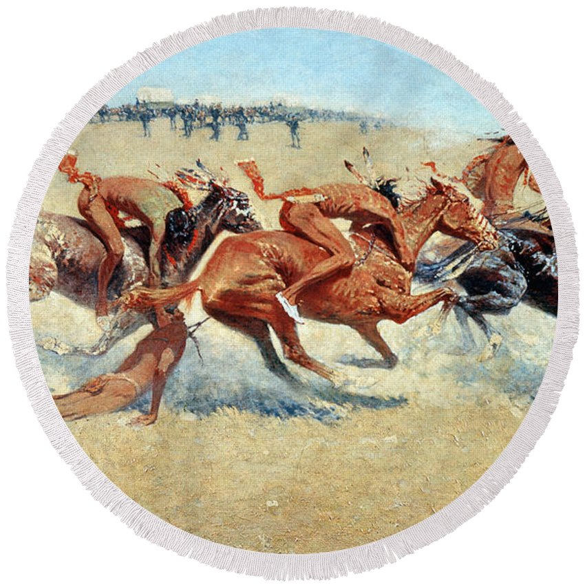 1908 Round Beach Towel featuring the photograph Remington: Indian Warfare by Granger