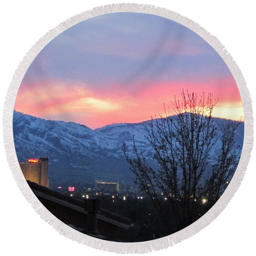 Snowy Mountains Round Beach Towel featuring the photograph Reno At Night by Phyllis Kaltenbach