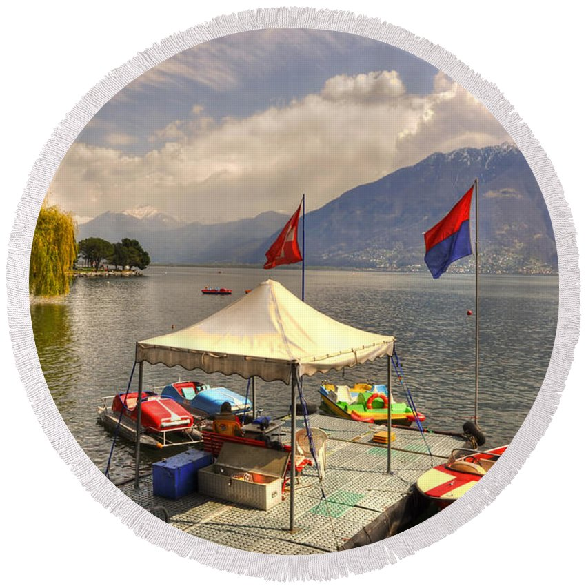 Rent A Boat Round Beach Towel featuring the photograph Rent A Boat by Mats Silvan