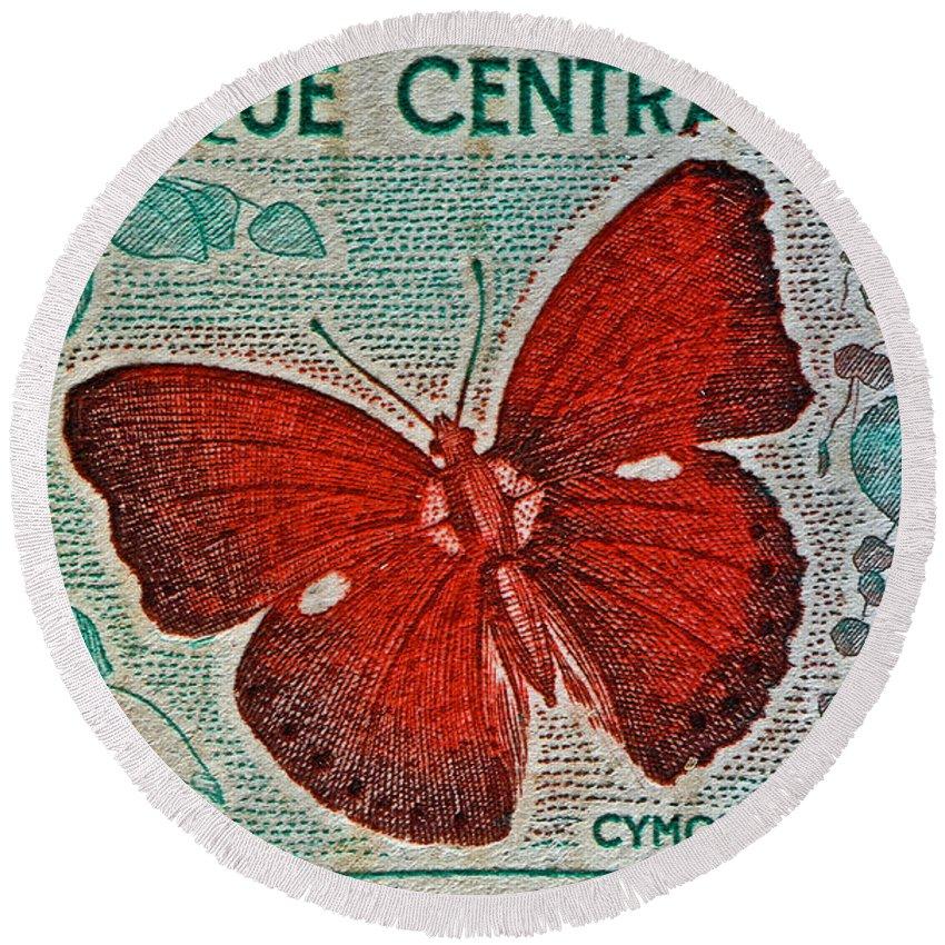 Republique Centrafricaine Round Beach Towel featuring the photograph Republique Centrafricaine Butterfly Stamp by Bill Owen