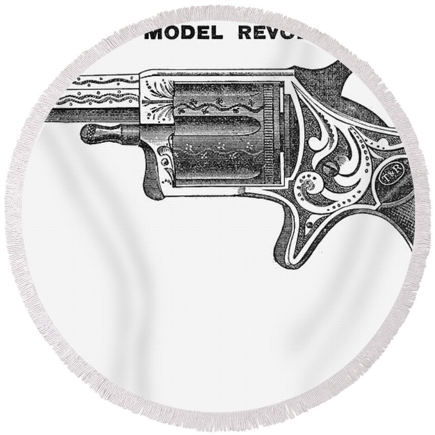 1878 Round Beach Towel featuring the photograph Revolver Ad, 1878 by Granger