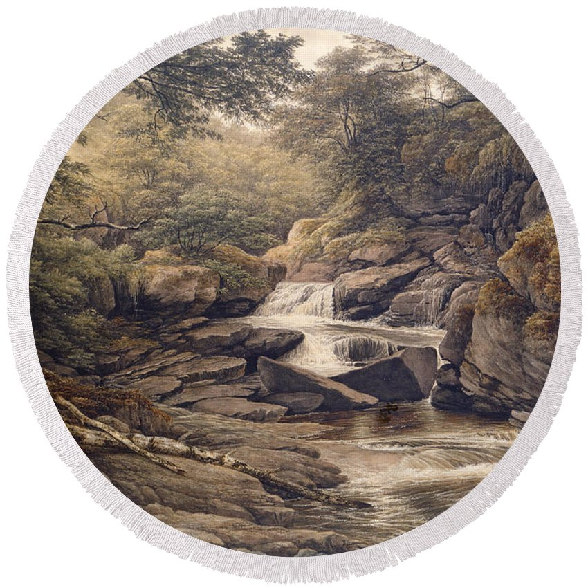 Waterfall Round Beach Towel featuring the painting Rhiadr Ddu Near Maentwrog North Wales by John Glover