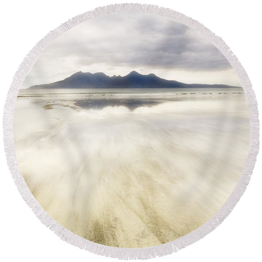 Eigg Round Beach Towel featuring the photograph Rhum From Laig Bay by Janet Burdon