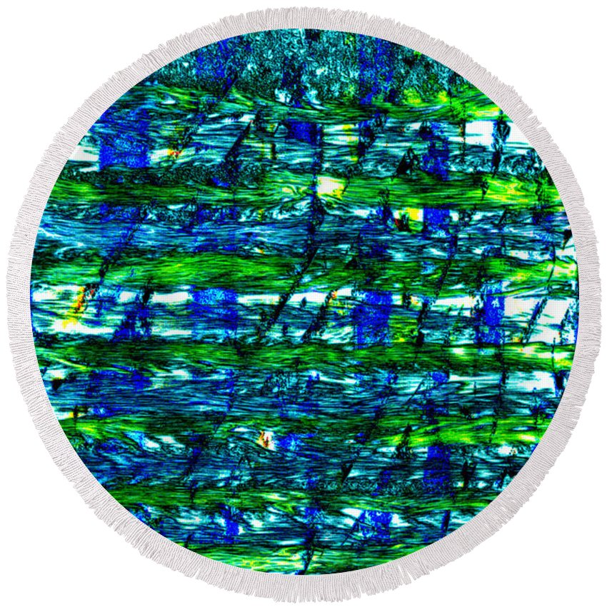 Round Beach Towel featuring the mixed media Rice Harvest by Terence Morrissey