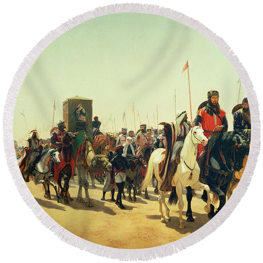 Caravan; Convoy; Palanquin; Litter; Standard; Lionheart; Camel; Third Crusade; Crusades; Crusader; Crusaders Round Beach Towel featuring the painting Richard Coeur De Lion On His Way To Jerusalem by James William Glass