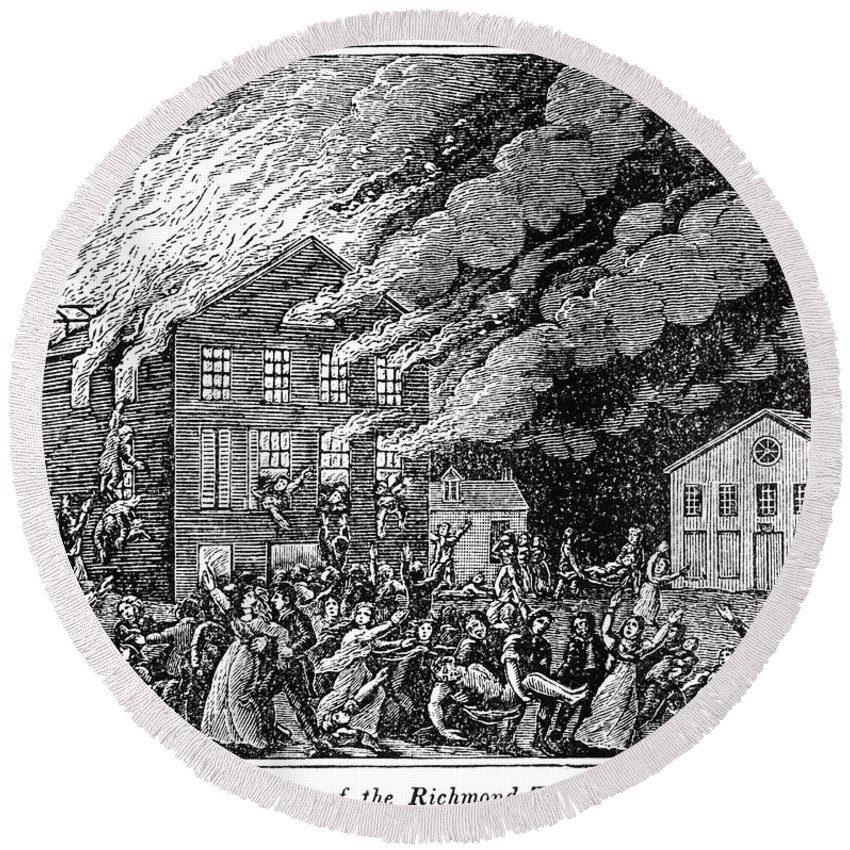 1811 Round Beach Towel featuring the photograph Richmond: Theater Fire by Granger