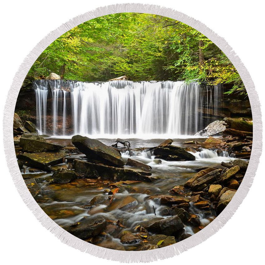 Ricketts Round Beach Towel featuring the photograph Ricketts Glen Waterfall Oneida by Frozen in Time Fine Art Photography