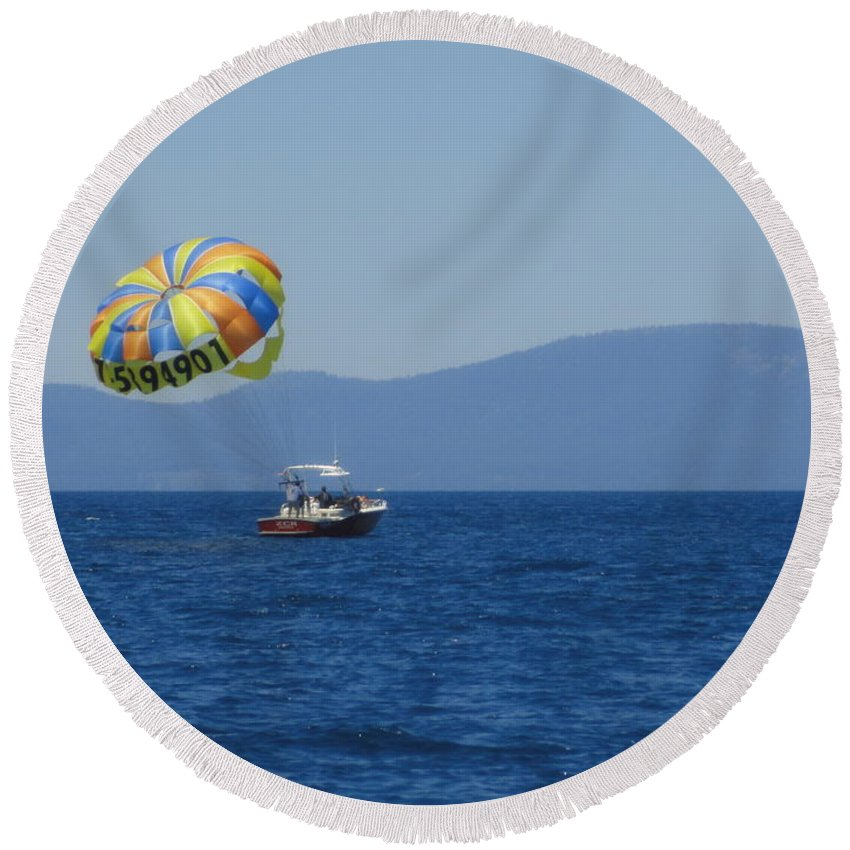 Water Round Beach Towel featuring the photograph Ride The Wind by Shannon Grissom