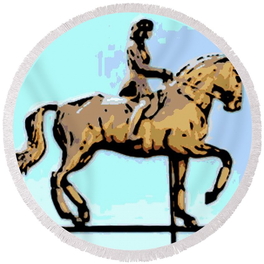 Horse Round Beach Towel featuring the photograph Riding Copper by George Pedro