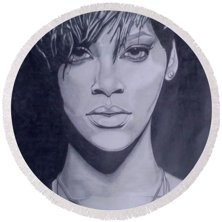 Rihanna Round Beach Towel featuring the drawing Rihanna by Lakeesha Mitchell