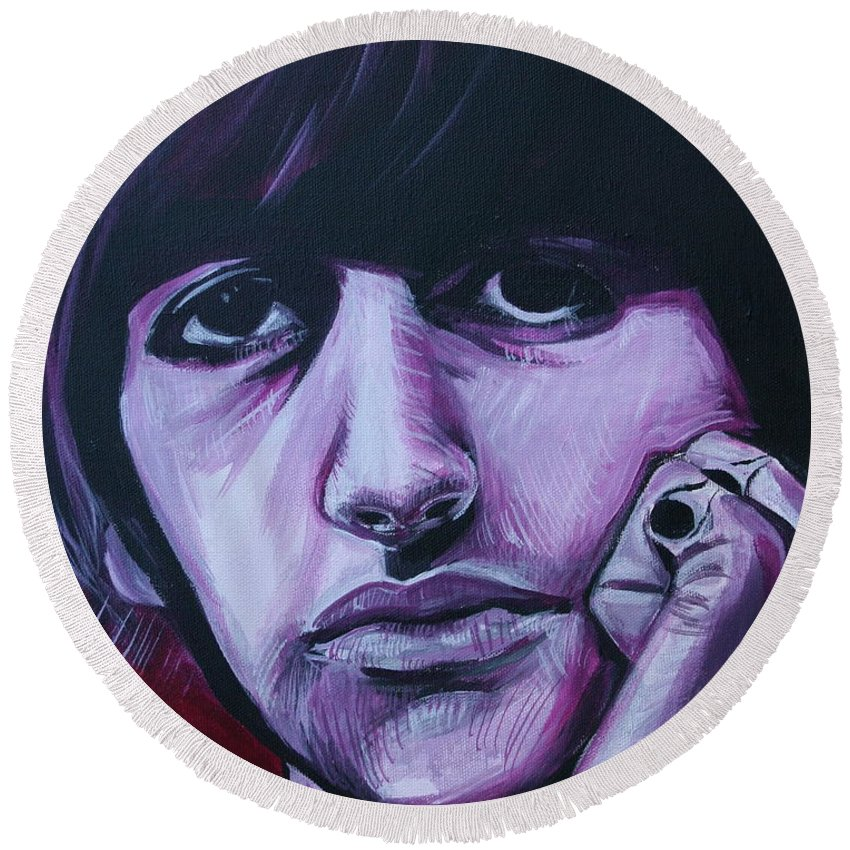 Beatles Round Beach Towel featuring the painting Ringo Star by Kate Fortin