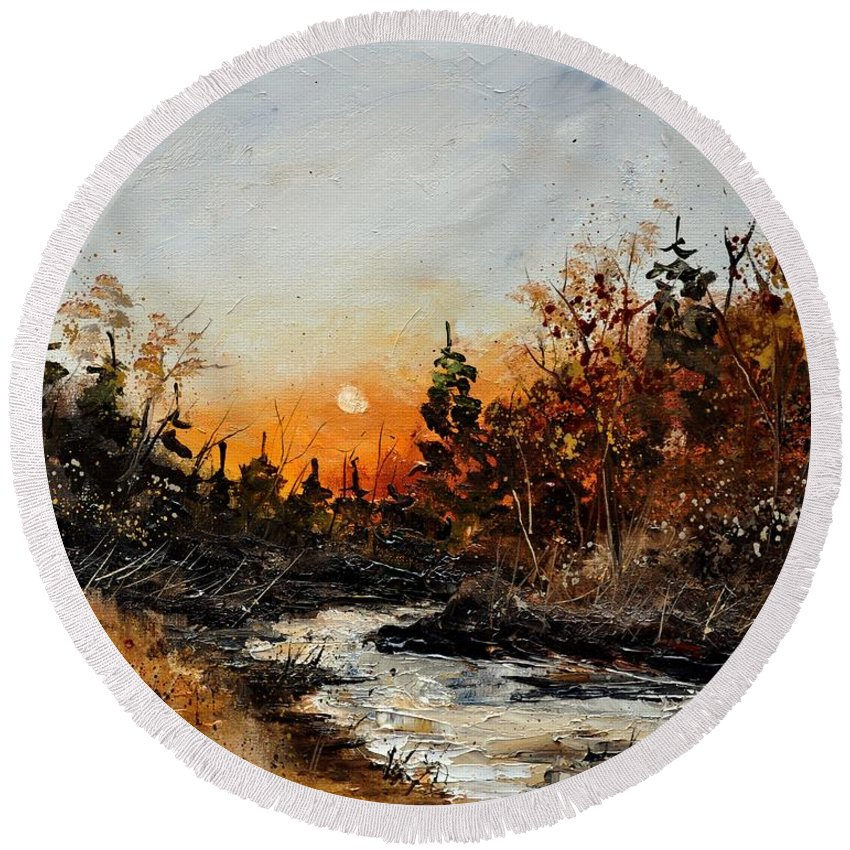 Landscape Round Beach Towel featuring the painting River Lesse 451111 by Pol Ledent