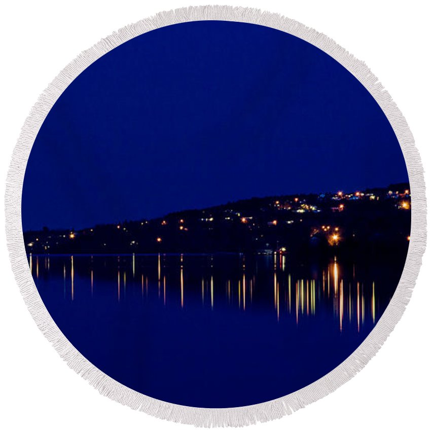 Night Round Beach Towel featuring the photograph River Lights by Jeff Galbraith