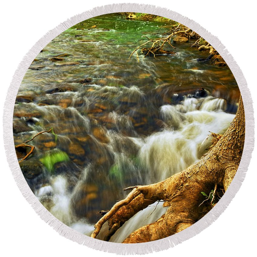 Water Round Beach Towel featuring the photograph River Rapids by Elena Elisseeva