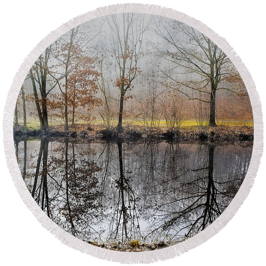 Landscape Round Beach Towel featuring the photograph River Reflections by Fran Gallogly