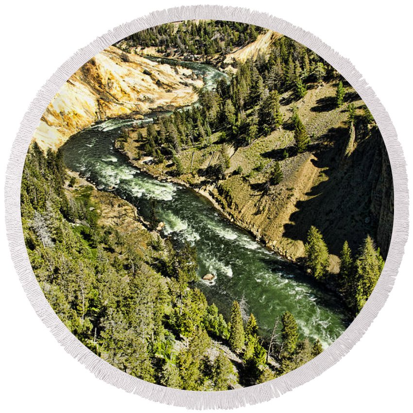 Yellowstone National Park Round Beach Towel featuring the photograph River View by Jon Berghoff