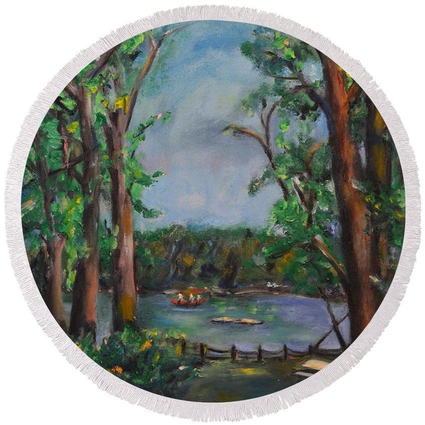 Art Round Beach Towel featuring the painting Riverbend Park by Karen Francis