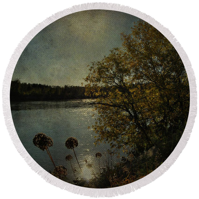 Jerry Cordeiro Photographs Photographs Round Beach Towel featuring the photograph Rivers Thoughts by The Artist Project