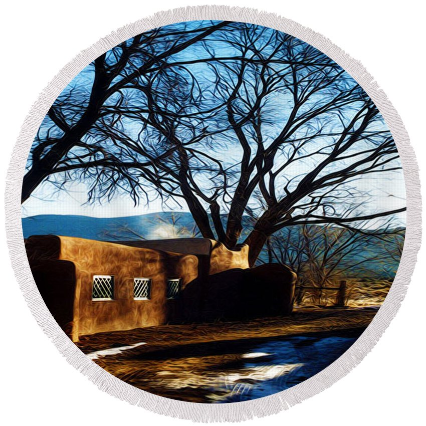 Tree Round Beach Towel featuring the photograph Road To Mescalero by Terry Fiala