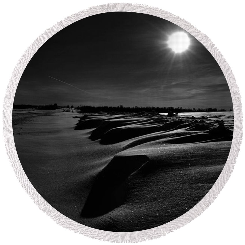 : Jerry Cordeiro Photographs Photographs Photographs Photographs Photographs Round Beach Towel featuring the photograph Road With Nails by The Artist Project