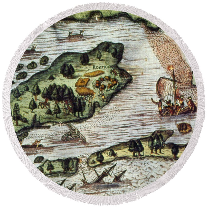 1585 Round Beach Towel featuring the photograph Roanoke Island, 1585 by Granger