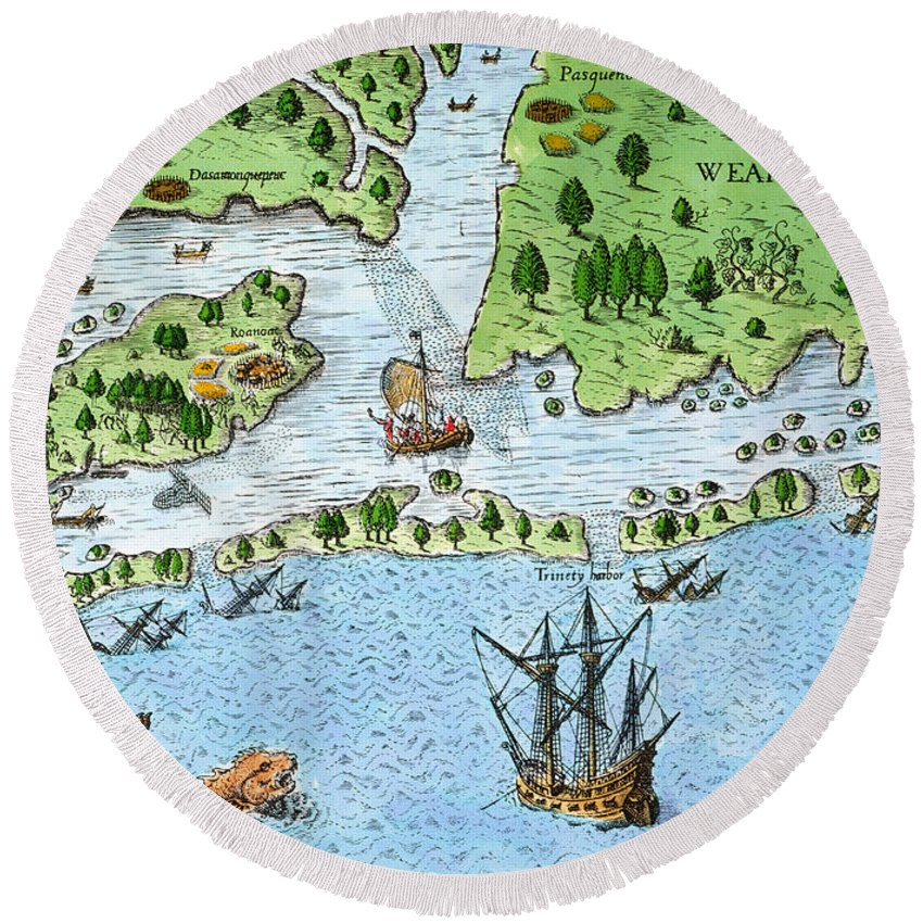 1585 Round Beach Towel featuring the photograph Roanoke Landing, 1585 by Granger