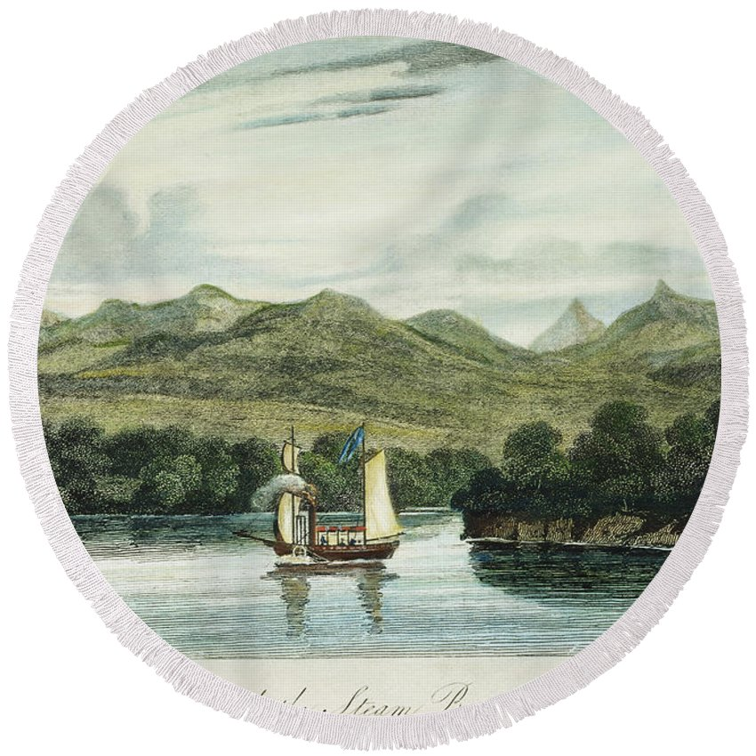 1807 Round Beach Towel featuring the photograph Robert Fultons Clermont by Granger
