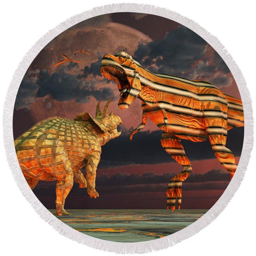 Horizontal Round Beach Towel featuring the digital art Robotic T. Rex & Triceratops Battle by Mark Stevenson