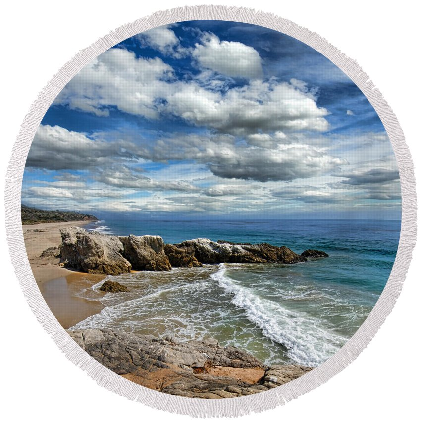 Beach Round Beach Towel featuring the photograph Rocky Coast In Malibu California by Jill Battaglia