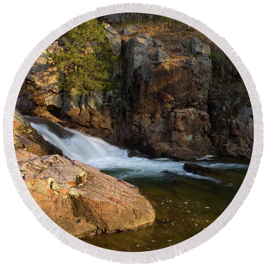 Ozarks Round Beach Towel featuring the photograph Rocky Creek by Steve Stuller