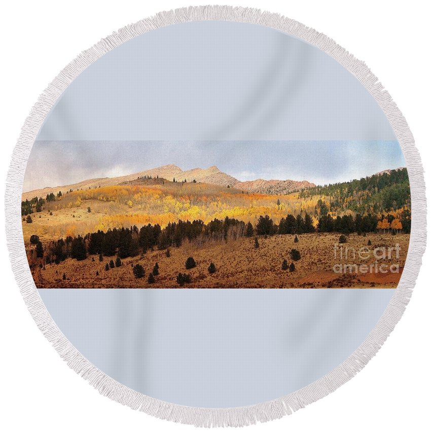 Rocky Mountains Round Beach Towel featuring the photograph Rocky Mountain Autumn by Ellen Heaverlo
