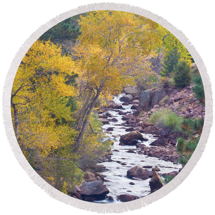 Colorful Round Beach Towel featuring the photograph Rocky Mountain Golden Canyon Scenic View by James BO Insogna