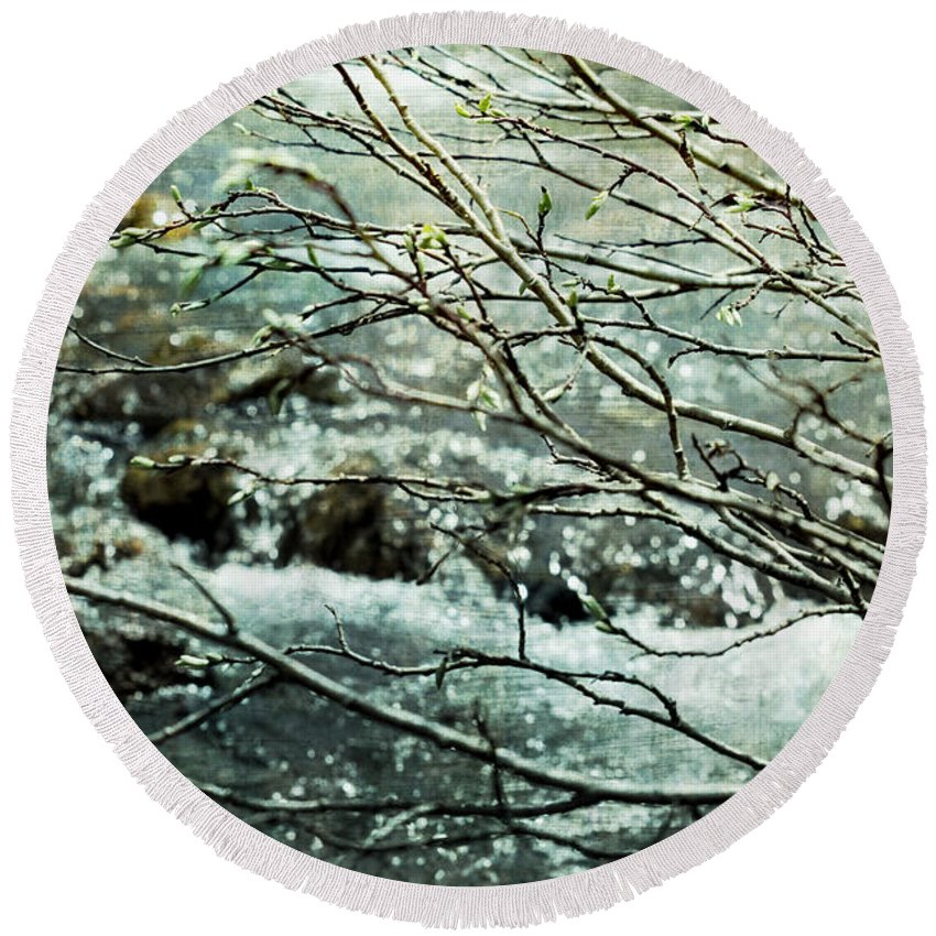 Spring Round Beach Towel featuring the photograph Rocky Mountain Stream by Ellen Heaverlo