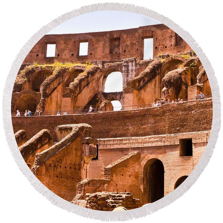 Rome Round Beach Towel featuring the photograph Roman Coliseum Interior by Jon Berghoff