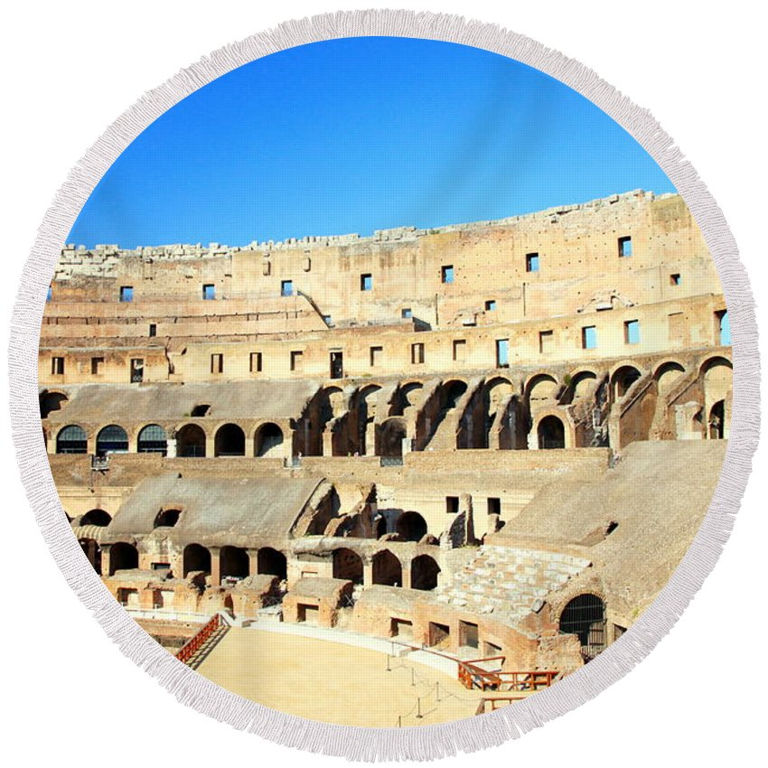 Rome Round Beach Towel featuring the photograph Rome Coliseum by Valentino Visentini