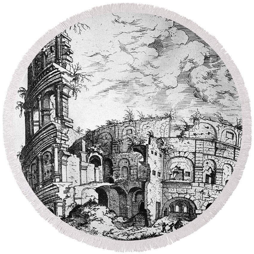1555 Round Beach Towel featuring the photograph Rome: Colosseum, C1555 by Granger