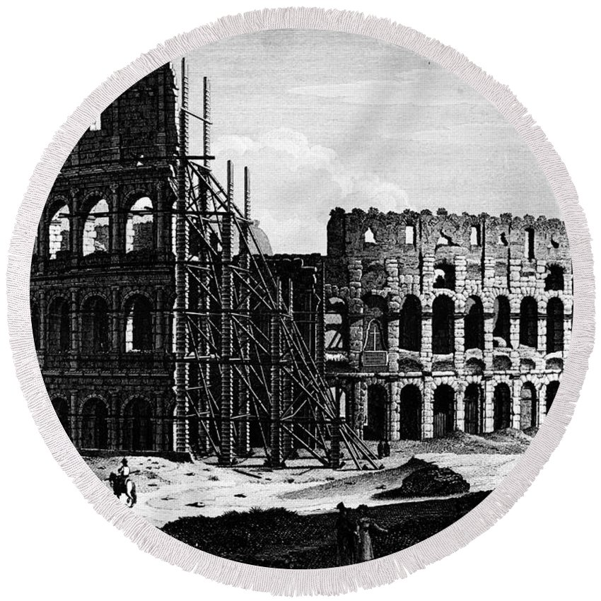 1864 Round Beach Towel featuring the photograph Rome: Colosseum, C1864 by Granger