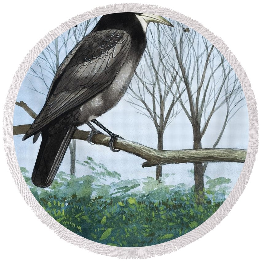 Rook; Rooks; Rookery; Nest; Tree; Flock; Ornithology Round Beach Towel featuring the painting Rook by English School