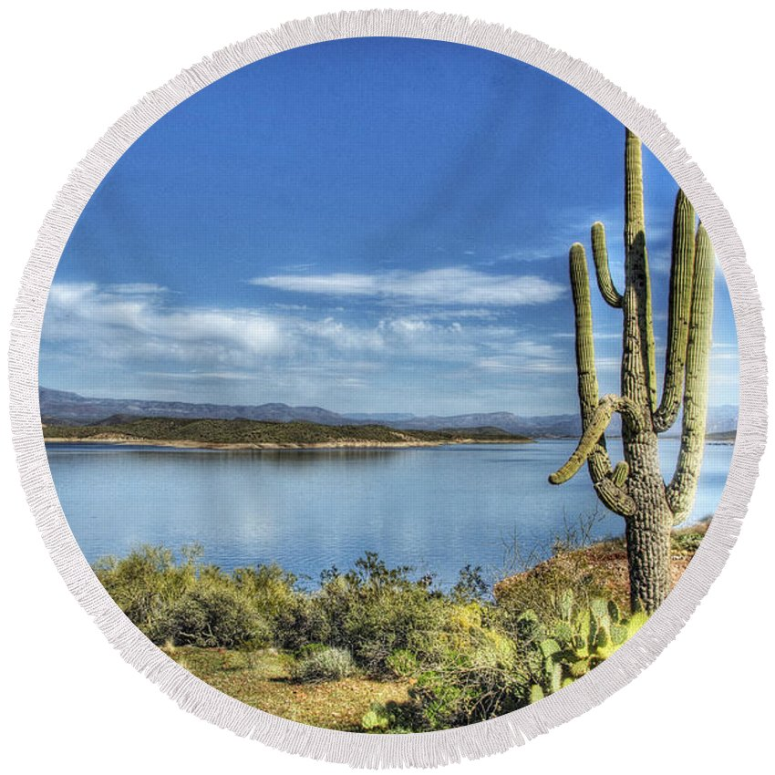 Roosevelt Lake Round Beach Towel featuring the photograph Roosevelt Lake by Saija Lehtonen