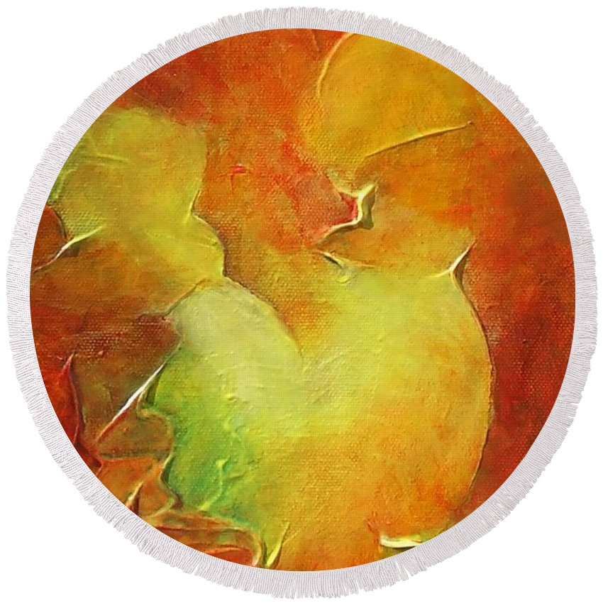 Abstract Round Beach Towel featuring the painting Rooster by Claire Gagnon