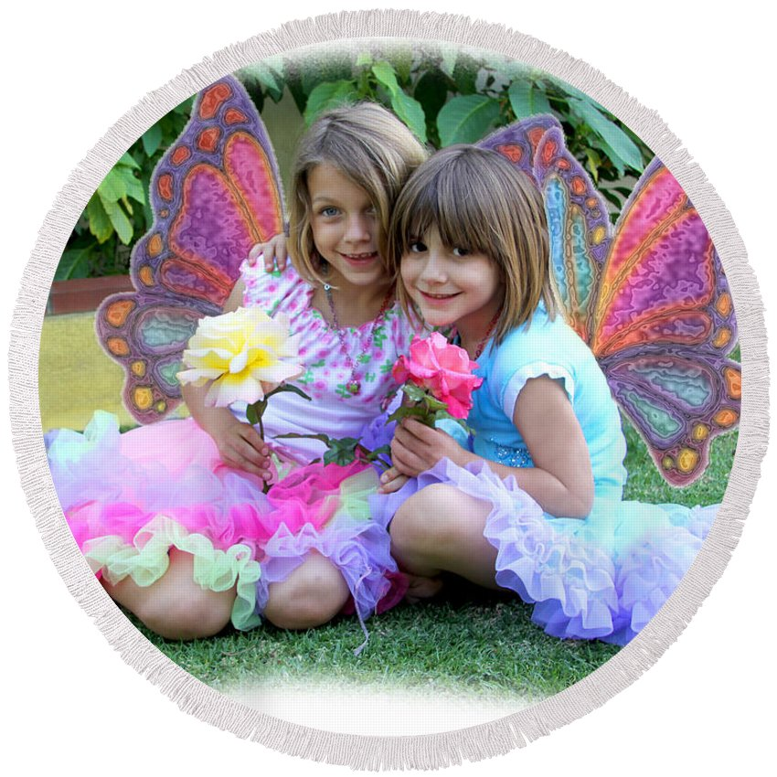 Fairy Round Beach Towel featuring the photograph Rose Faeries by Diana Haronis