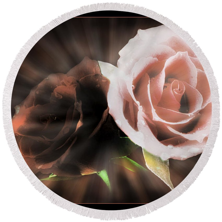 Flowers Round Beach Towel featuring the digital art Roses by Ronel Broderick