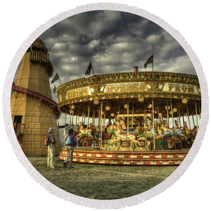 Carousel Round Beach Towel featuring the photograph Round And Round by Rob Hawkins