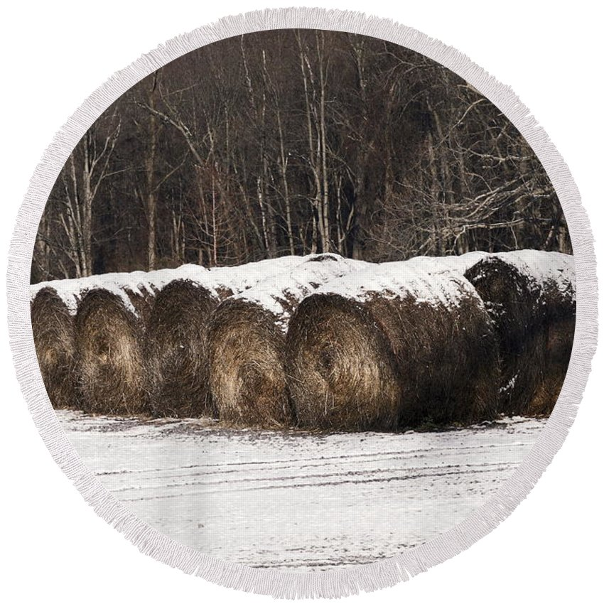 Round Hay Bales Lined Up Round Beach Towel featuring the photograph Round Hay Bales by Sally Weigand